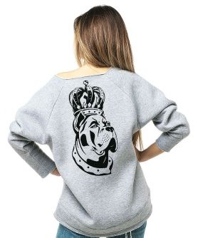CHARA Logo Flocked  Off Shoulder Sweatshirt