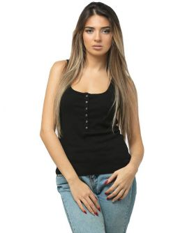 ZOE  Ribbed Snap Front Tank Top