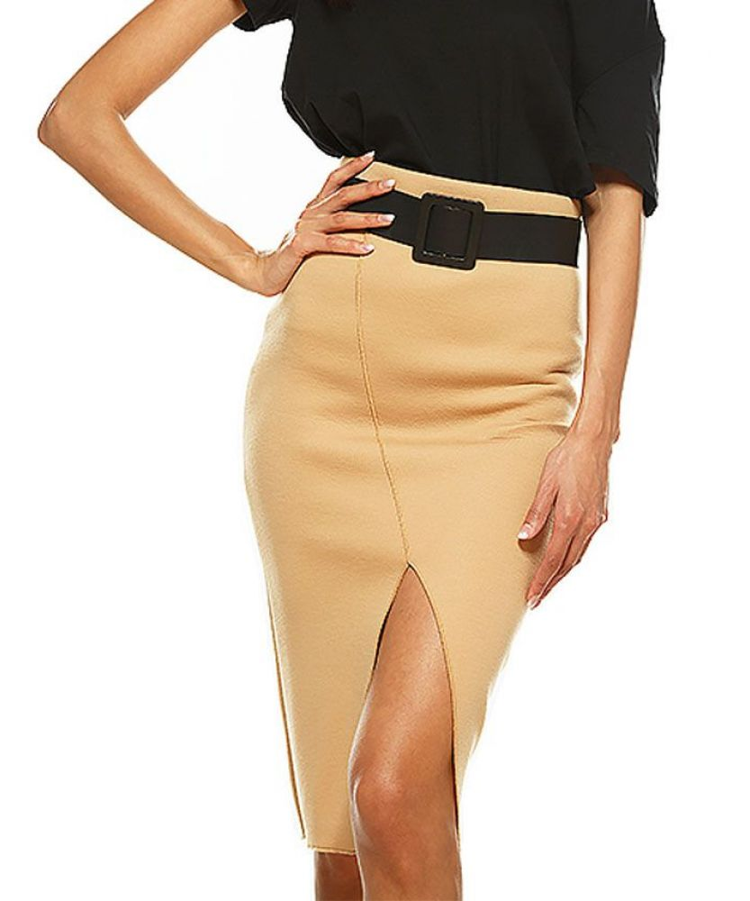 0bf9f1ca4 ISIS Beige High Waisted Front Slit Pencil Skirt