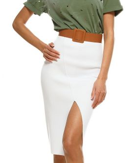 ISIS High Waisted Front Slit Pencil Skirt