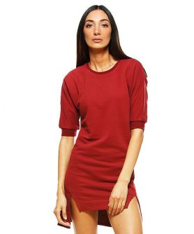 DELIA Raglan Sleeve High Low Hem Sweatshirt Dress