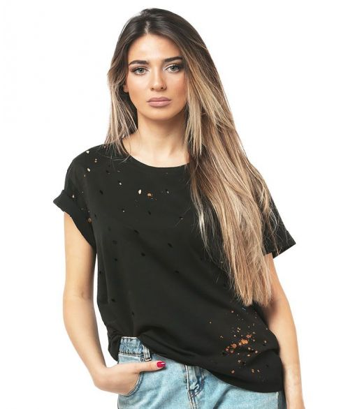 CLIO  Bleached Distressed T-shirt